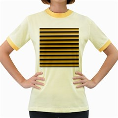 Golden Line Background Women s Fitted Ringer T Shirts