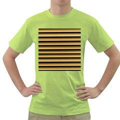 Golden Line Background Green T Shirt