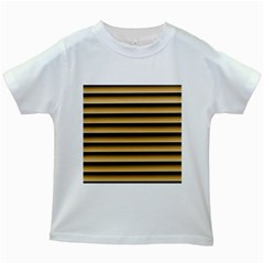 Golden Line Background Kids White T Shirts
