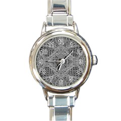 Gray Psychedelic Background Round Italian Charm Watch