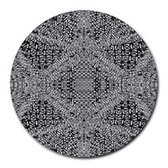 Gray Psychedelic Background Round Mousepads