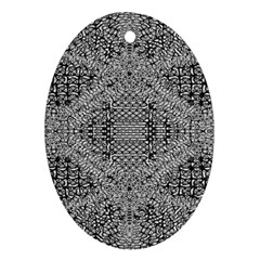 Gray Psychedelic Background Ornament (oval)