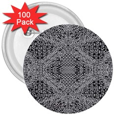 Gray Psychedelic Background 3  Buttons (100 Pack)
