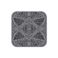 Gray Psychedelic Background Rubber Coaster (square)