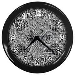 Gray Psychedelic Background Wall Clocks (black)