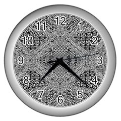 Gray Psychedelic Background Wall Clocks (silver)