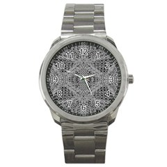 Gray Psychedelic Background Sport Metal Watch