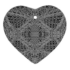 Gray Psychedelic Background Heart Ornament (two Sides)