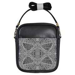 Gray Psychedelic Background Girls Sling Bags