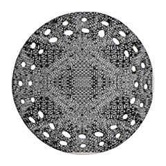 Gray Psychedelic Background Ornament (round Filigree)
