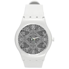 Gray Psychedelic Background Round Plastic Sport Watch (m)