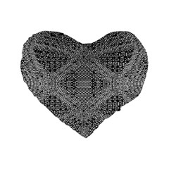 Gray Psychedelic Background Standard 16  Premium Heart Shape Cushions