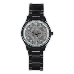 Gray Psychedelic Background Stainless Steel Round Watch