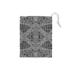 Gray Psychedelic Background Drawstring Pouches (small)