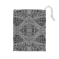 Gray Psychedelic Background Drawstring Pouches (large)