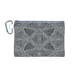 Gray Psychedelic Background Canvas Cosmetic Bag (m)