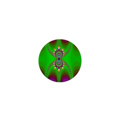 Green And Purple Fractal 1  Mini Buttons