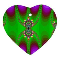 Green And Purple Fractal Ornament (heart)