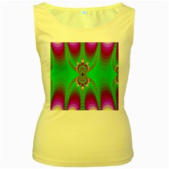Green And Purple Fractal Women s Yellow Tank Top