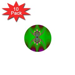 Green And Purple Fractal 1  Mini Buttons (10 Pack)