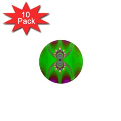 Green And Purple Fractal 1  Mini Magnet (10 Pack)