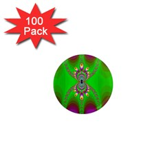 Green And Purple Fractal 1  Mini Magnets (100 Pack)
