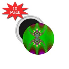 Green And Purple Fractal 1 75  Magnets (10 Pack)