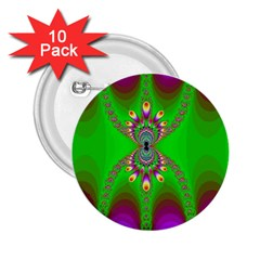 Green And Purple Fractal 2 25  Buttons (10 Pack)