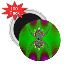 Green And Purple Fractal 2 25  Magnets (100 Pack)