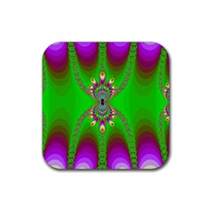 Green And Purple Fractal Rubber Coaster (square)