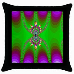 Green And Purple Fractal Throw Pillow Case (Black)
