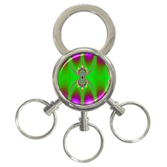 Green And Purple Fractal 3-Ring Key Chains