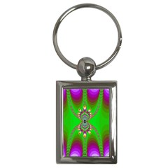 Green And Purple Fractal Key Chains (Rectangle)