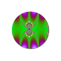 Green And Purple Fractal Magnet 3  (round)