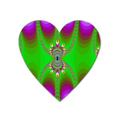 Green And Purple Fractal Heart Magnet