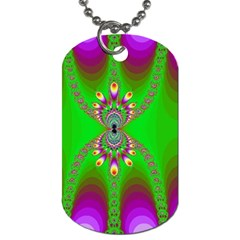 Green And Purple Fractal Dog Tag (one Side)