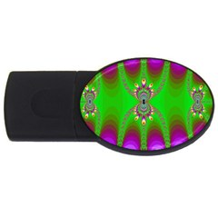 Green And Purple Fractal Usb Flash Drive Oval (2 Gb)