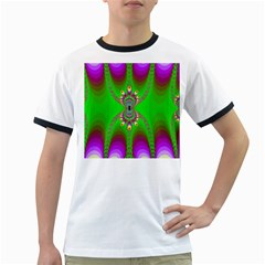 Green And Purple Fractal Ringer T Shirts