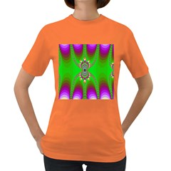 Green And Purple Fractal Women s Dark T Shirt