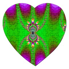 Green And Purple Fractal Jigsaw Puzzle (heart)