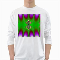 Green And Purple Fractal White Long Sleeve T Shirts
