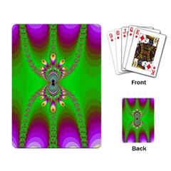 Green And Purple Fractal Playing Card