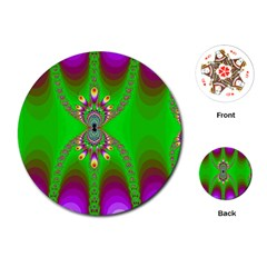 Green And Purple Fractal Playing Cards (round)