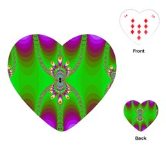 Green And Purple Fractal Playing Cards (heart)