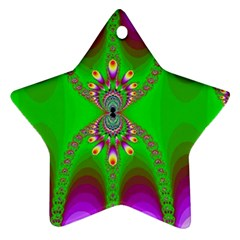 Green And Purple Fractal Star Ornament (two Sides)