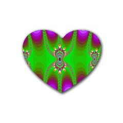 Green And Purple Fractal Rubber Coaster (heart)