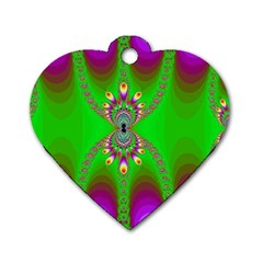 Green And Purple Fractal Dog Tag Heart (two Sides)
