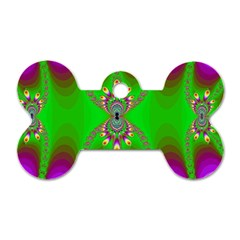 Green And Purple Fractal Dog Tag Bone (two Sides)