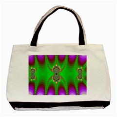 Green And Purple Fractal Basic Tote Bag (two Sides)
