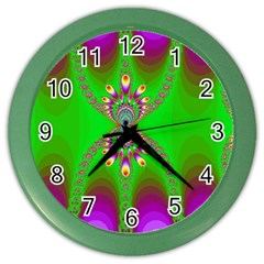 Green And Purple Fractal Color Wall Clocks